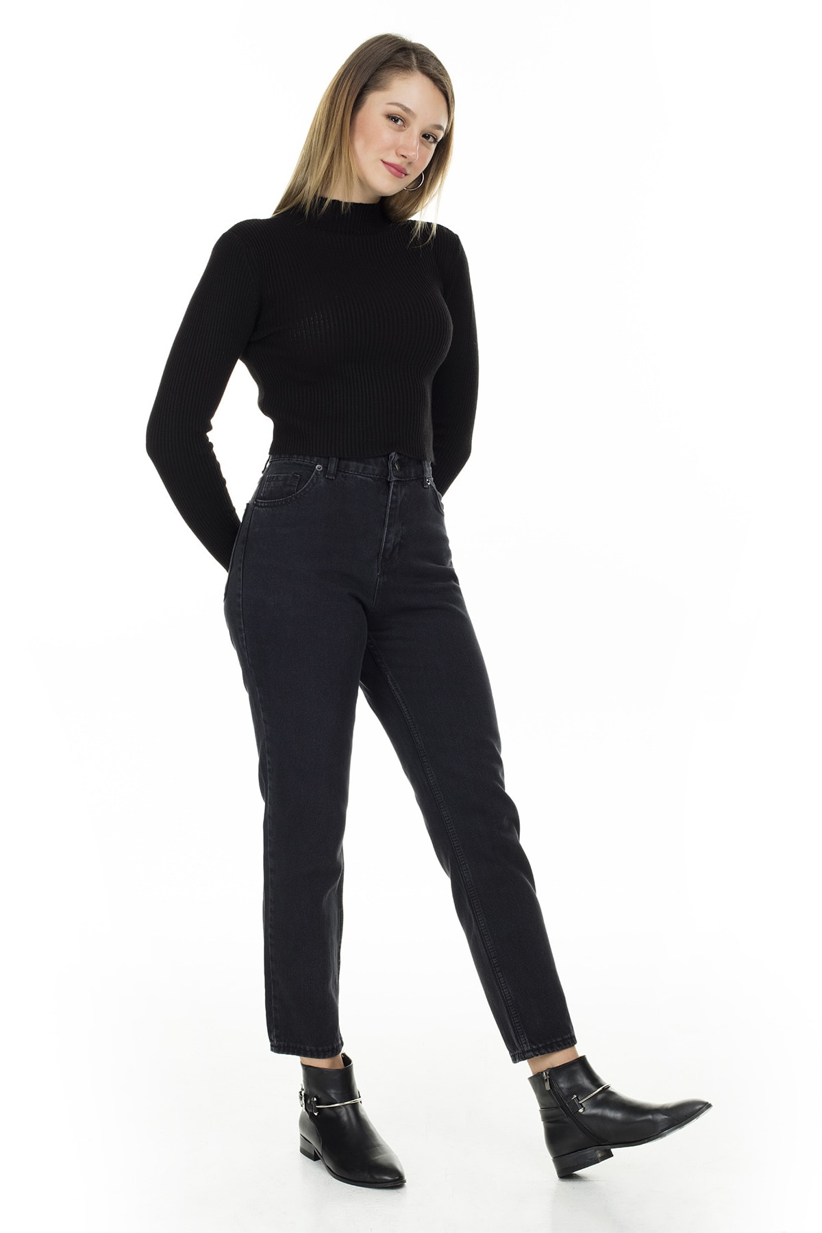 Lela Kadın Pamuklu Mom Jeans Kot Pantolon 5873041