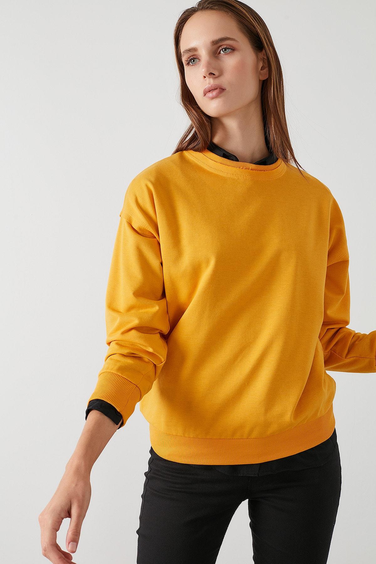 Lela Kadın Bisiklet Yaka Basic Örme Sweatshirt 5413012