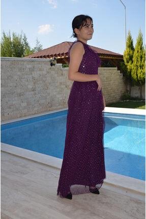 zeynep Kadın Mor Pullu Tül Elbise