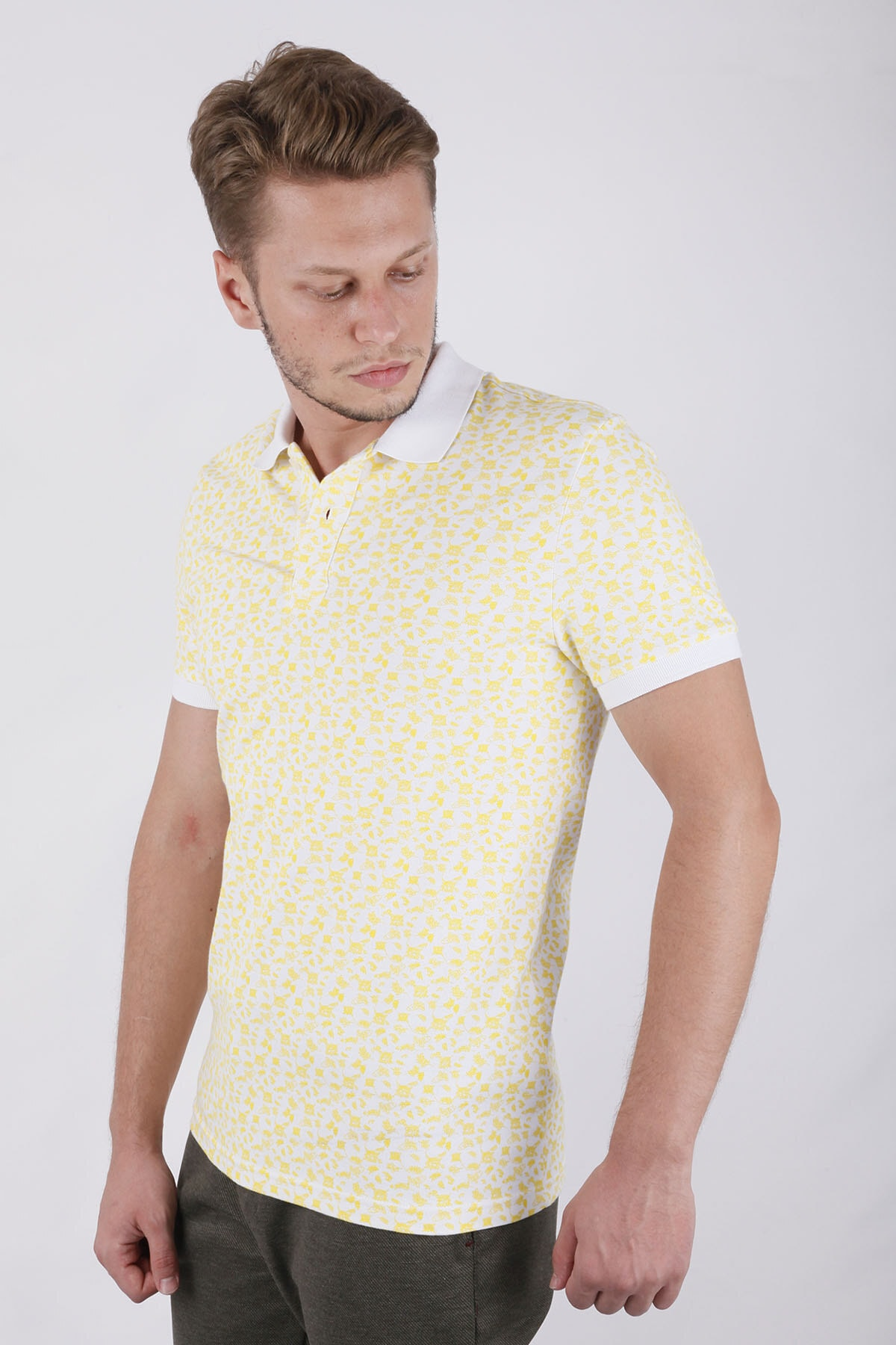 Canelia Erkek  Sarı Baskılı Likralı Pike Slimfit T-shirt 2