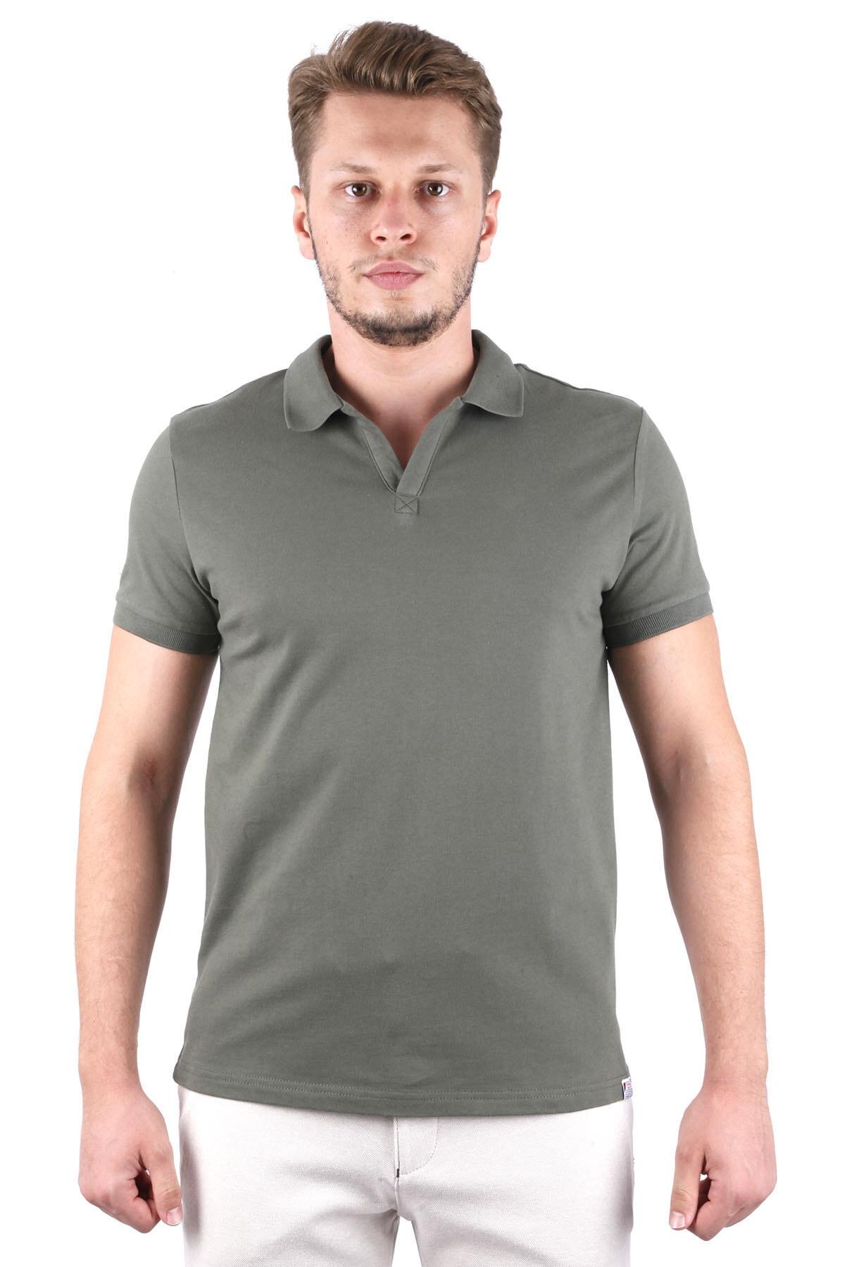 Canelia Erkek Haki Likralı Pike Haki Renk Slimfit T-shirt 1