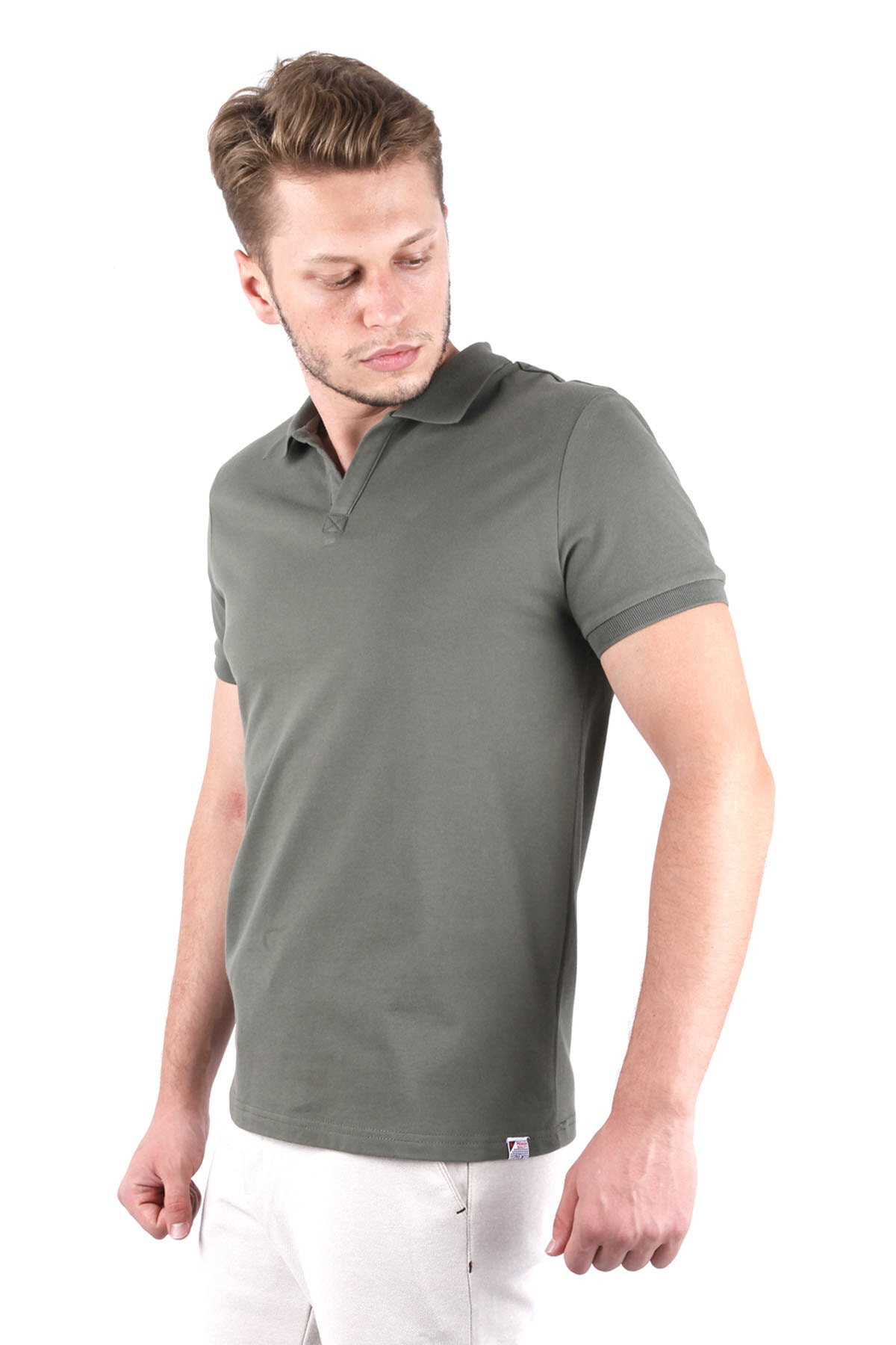 Canelia Erkek Haki Likralı Pike Haki Renk Slimfit T-shirt 2