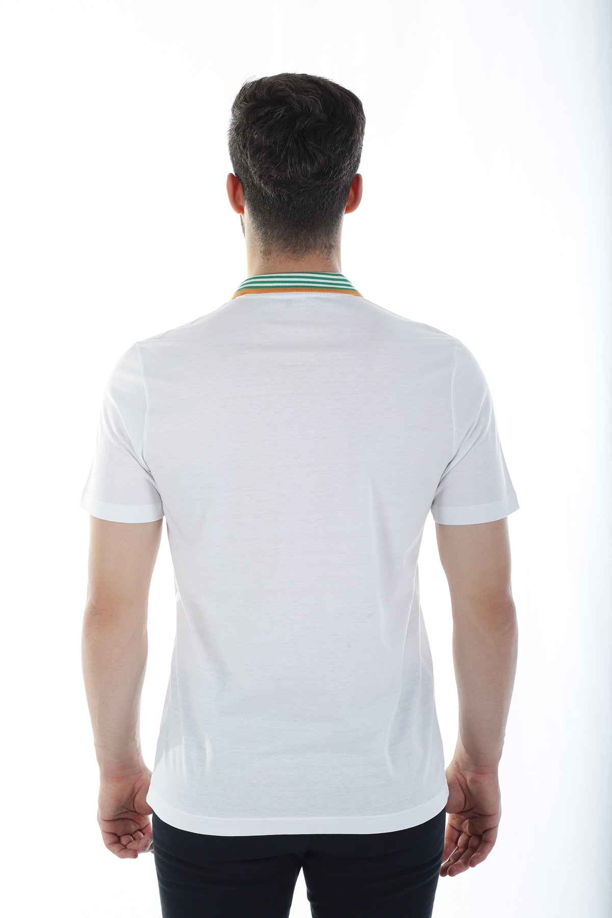 Diandor Erkek Beyaz Polo Yaka T-shirt 2