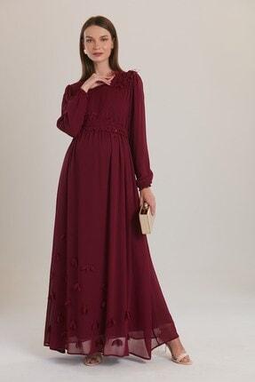 Görsin Hamile Kadın Violet Omuz Ve Eteği Çiçekli Hamile Babyshower Elbise