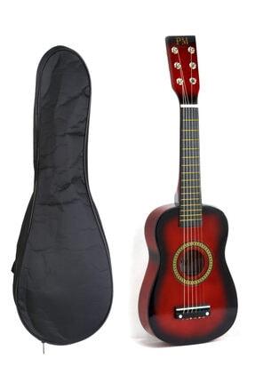 PM Kırmızı Çocuk Gitar 3-4 Yaş Için Kılıf Ve Pena Hediyeli
