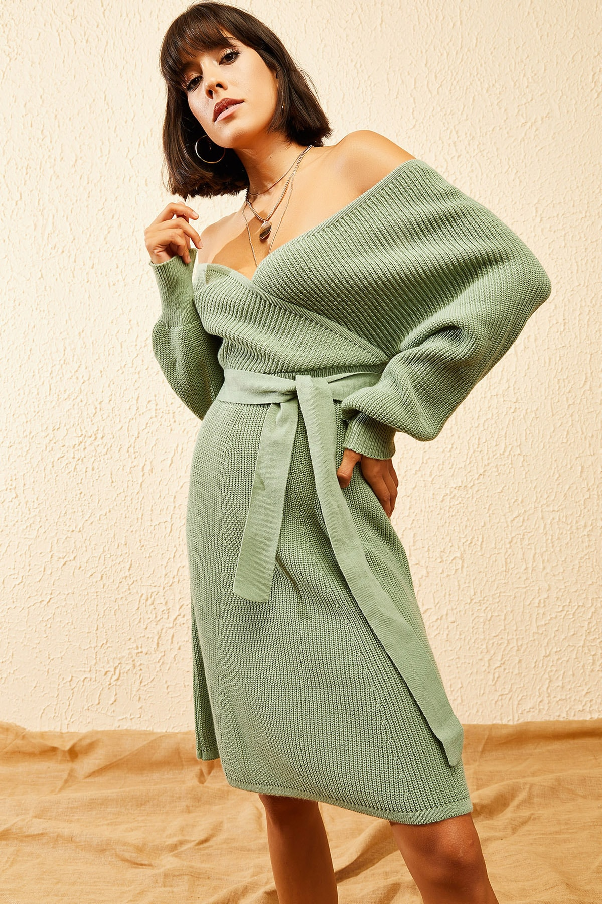 Bianco Lucci Kadın Çağla Yeşili Kruvaze Yaka Selanik Örgü Elbise 10121080