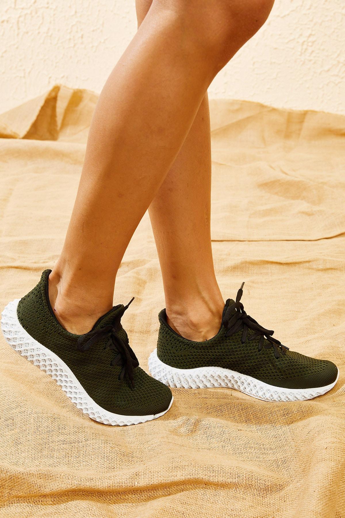 Bianco Lucci Kadın Haki Rahat Triko Örme Ayakkabı AYKB001 2
