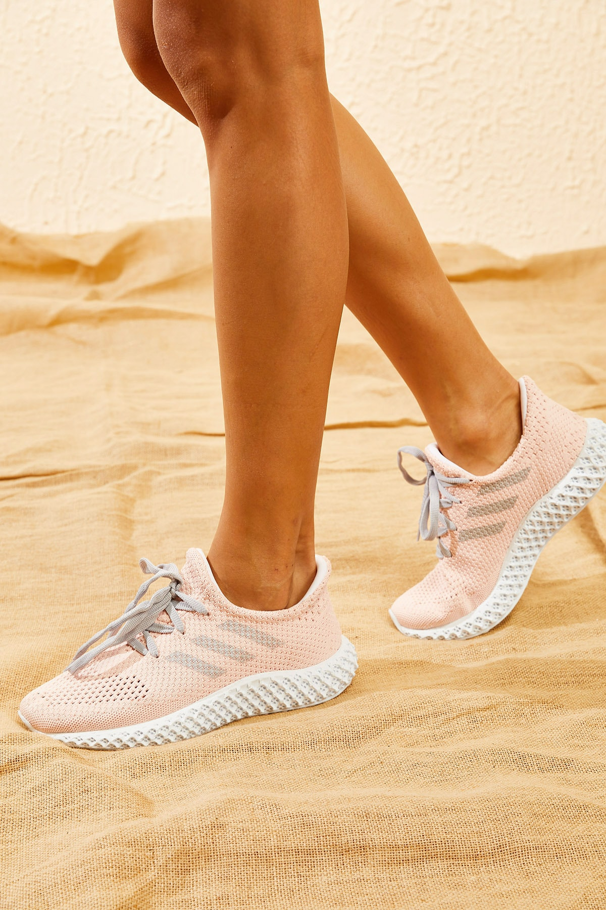 Bianco Lucci Kadın Pudra Rahat Triko Örme Ayakkabı AYKB001 1