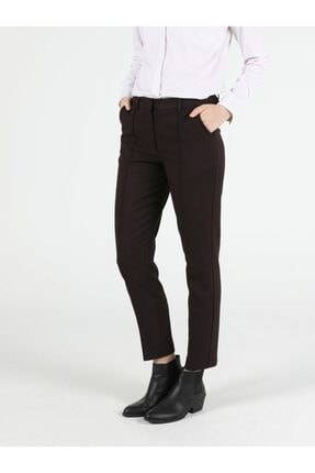 Colin's Slim Fit Orta Bel Düz Paça Kadın Bordo Pantolon