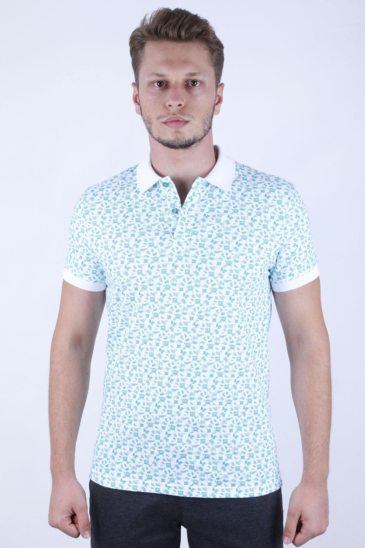 Canelia Baskılı Likralı Pike Yeşil Renk Slimfit T-shirt 1