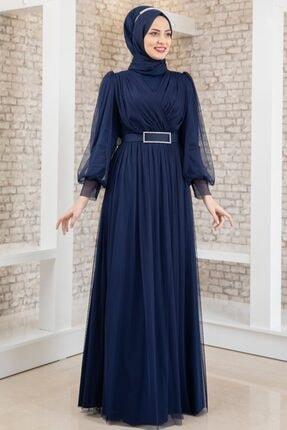 Fashion Showcase Kadın Lacivert Kemeri Taşlı Tül Detay Abiye  Fsc2020