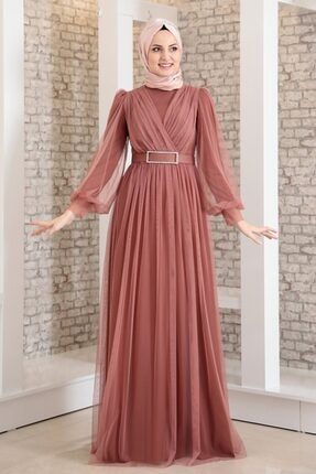 Fashion Showcase Kadın Pembe Kemeri Taşlı Tül Detay Abiye Fsc2020