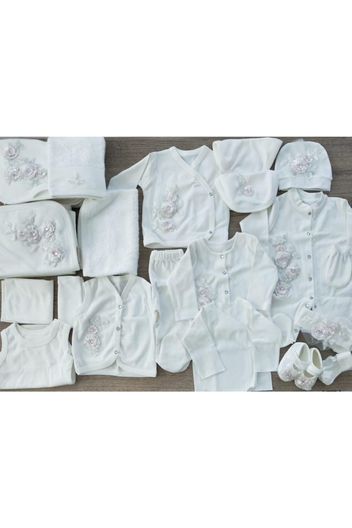Eda Baby Kız Bebek Ithal Dantelli Pembe Çiçekli 20'li Hastane Çıkış Seti 2