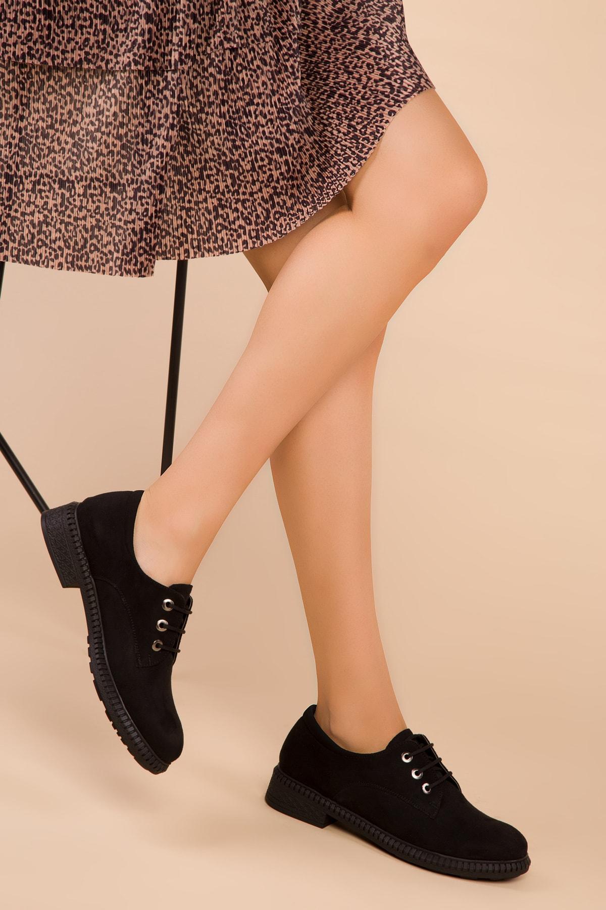 SOHO Siyah Süet Kadın Casual Ayakkabı 15397 1