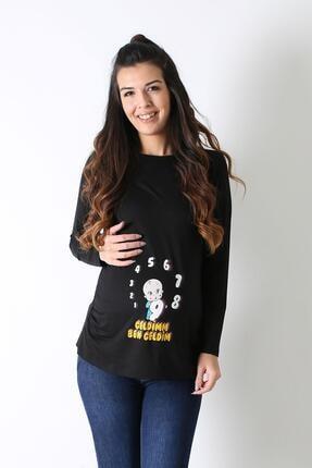 Işşıl Kadın Siyah Hamile Esprili T-shirt 4000-gelgim