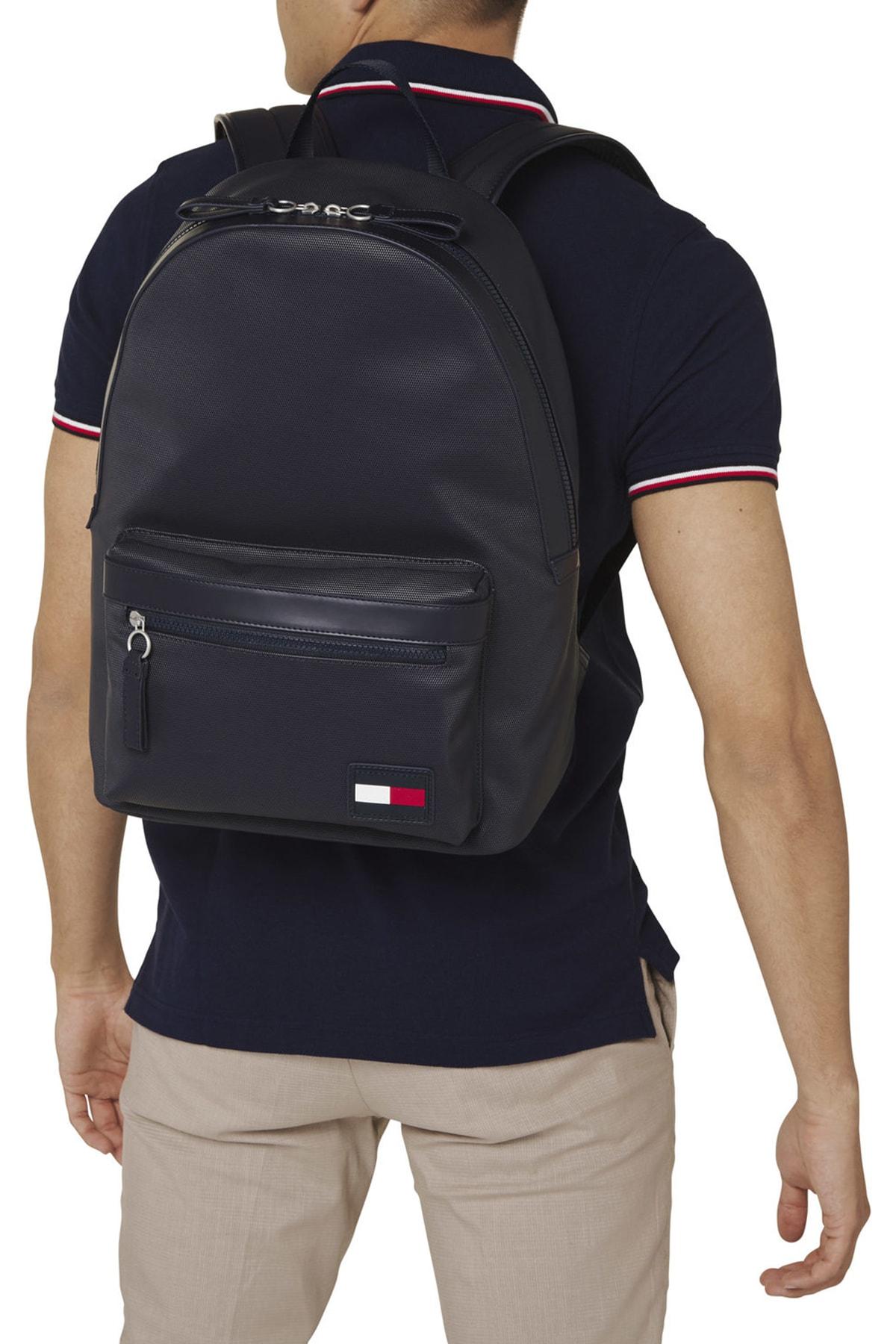 Tommy Hilfiger Erkek Mavi Sırt Çantası Sport Pıque Backpack AM0AM05809 1