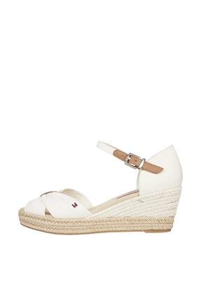Tommy Hilfiger Kadın Beyaz Sandalet Basıc Open Toe Mıd Wedge FW0FW04785