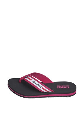 Tommy Hilfiger Kadın Siyah Sandalet Chunky Tape Flat Beach Sandal EN0EN00859