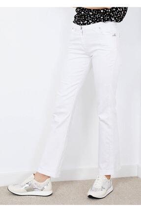 Adze Kadın Beyaz 5 Cepli Fermuarlı Düğmeli Jean Pantalon