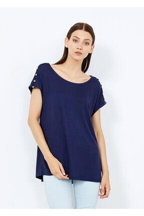 Adze Kadın Lacivert Omuz Düğmeli Basic Tişört