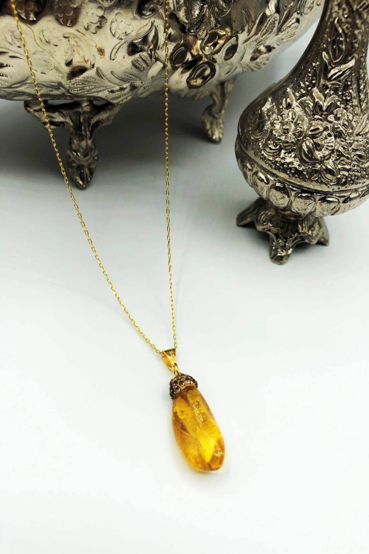 Dr. Stone Dr Stone Harem Koleksiyonu Kehribar Taşı El Yapımı 925 Ayar Gümüş Kolye Gdr20 1