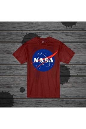 Panda Unisex Bordo Nasa Baskılı T-shirt