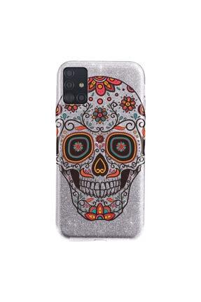 Cekuonline Samsung Galaxy A71 Kılıf Simli Shining Desenli Silikon Gümüş Gri - Stok316 - Skull66