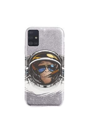 Cekuonline Samsung Galaxy A71 Kılıf Simli Shining Desenli Silikon Gümüş Gri - Stok312 - Monkey Fly