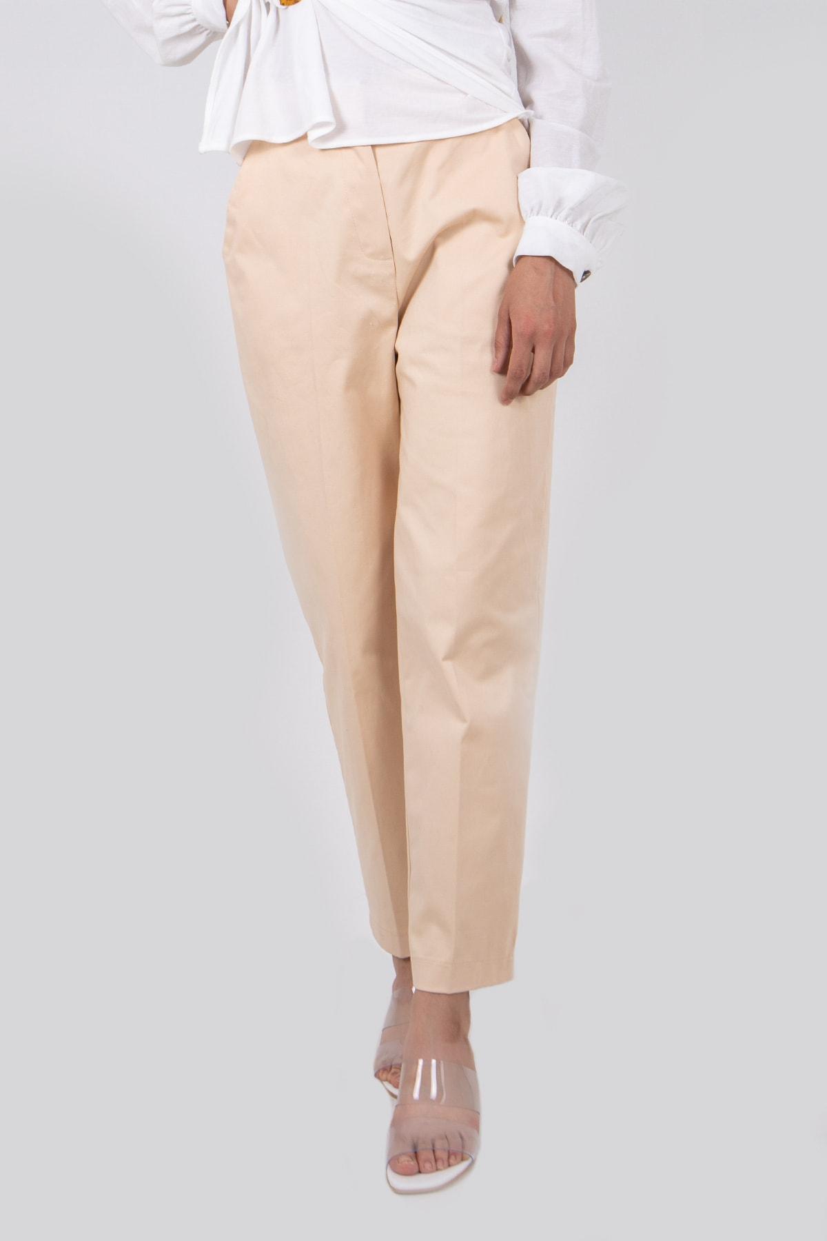 BSL Kadın Krem Klasik Pantolon 1