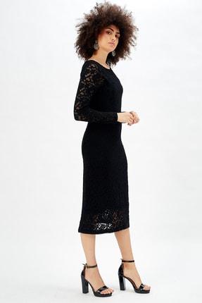Sense Uzun Kol Uzun Dantel Abiye Elbise Siyah
