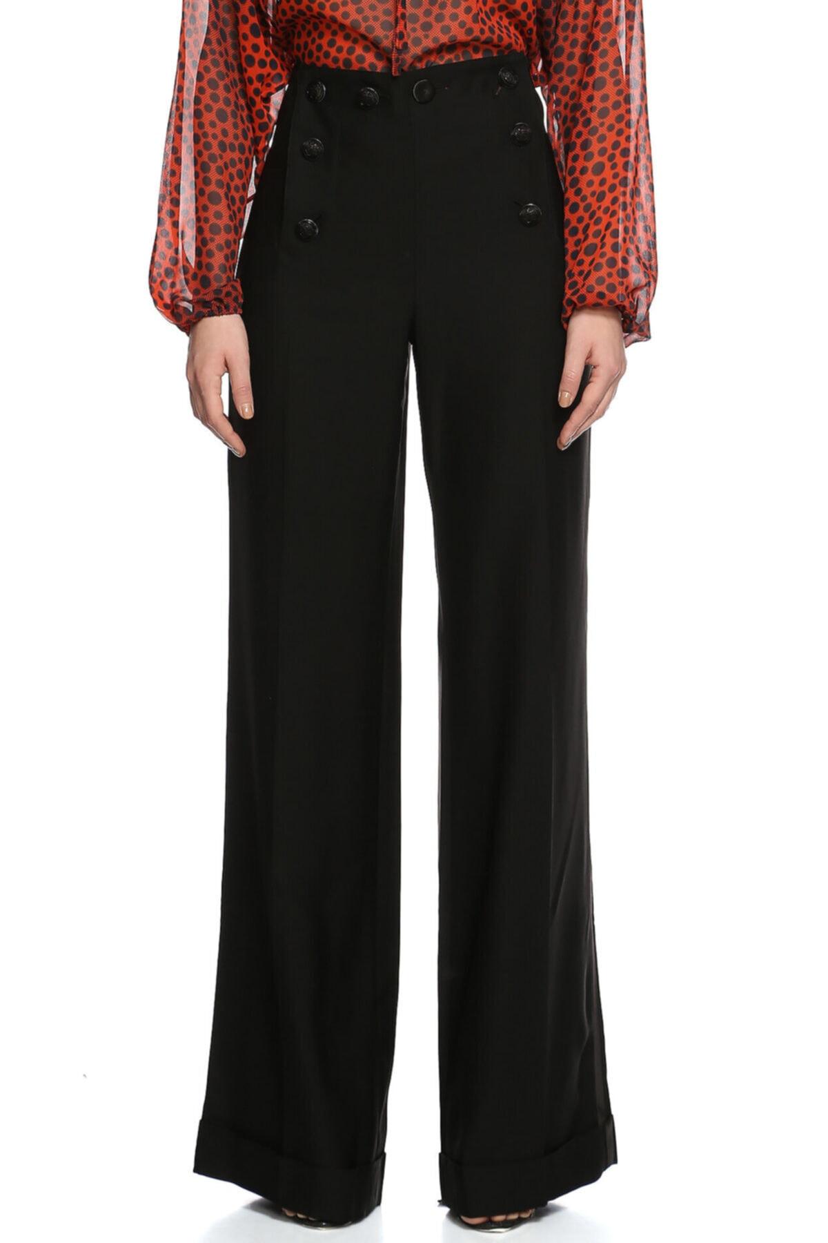 Jean Paul Gaultier Kadın Siyah Bol Paça Pantolon 1