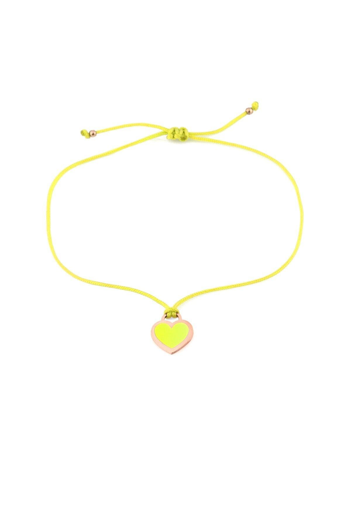 MySilvers Sarı Neon Kalp Ipli Gümüş Halhal 1