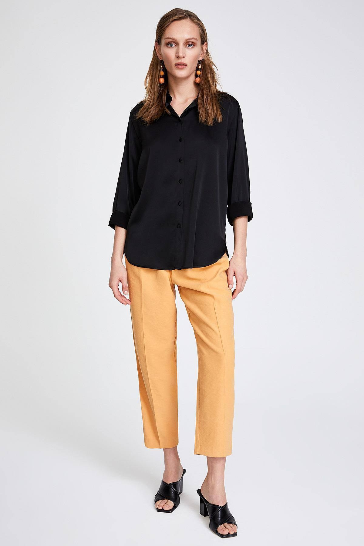STELLA PULVIS Kadın Siyah Saten Gömlek 1