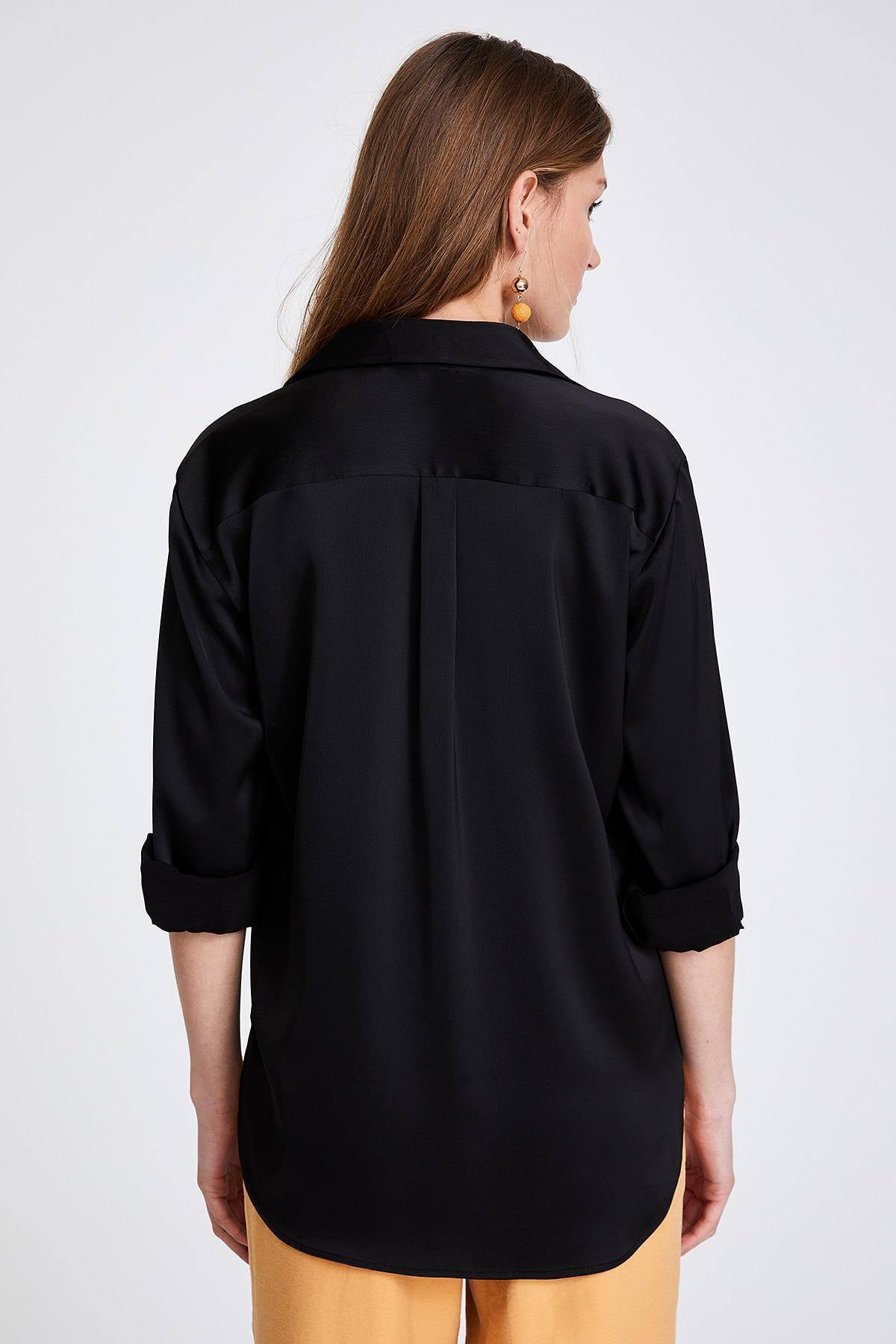STELLA PULVIS Kadın Siyah Saten Gömlek 2