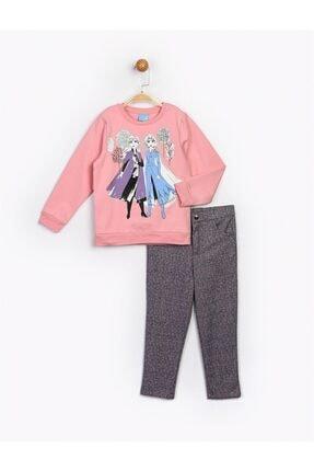 Frozen Kız Çocuk Pembe Desenli Takım 16263