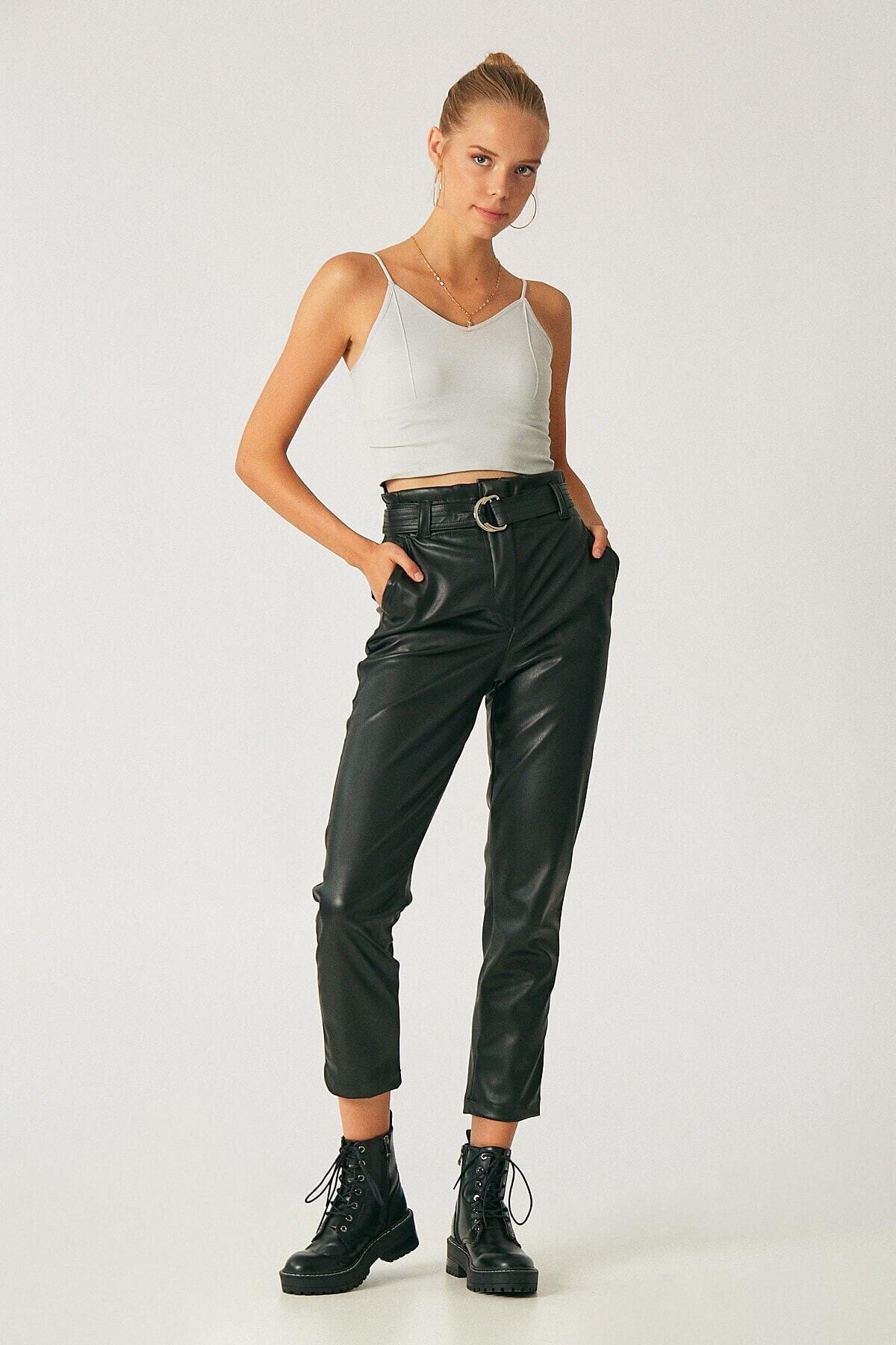 Robin Kadın Siyah Kemerli Yüksek Bel Deri Pantolon 1