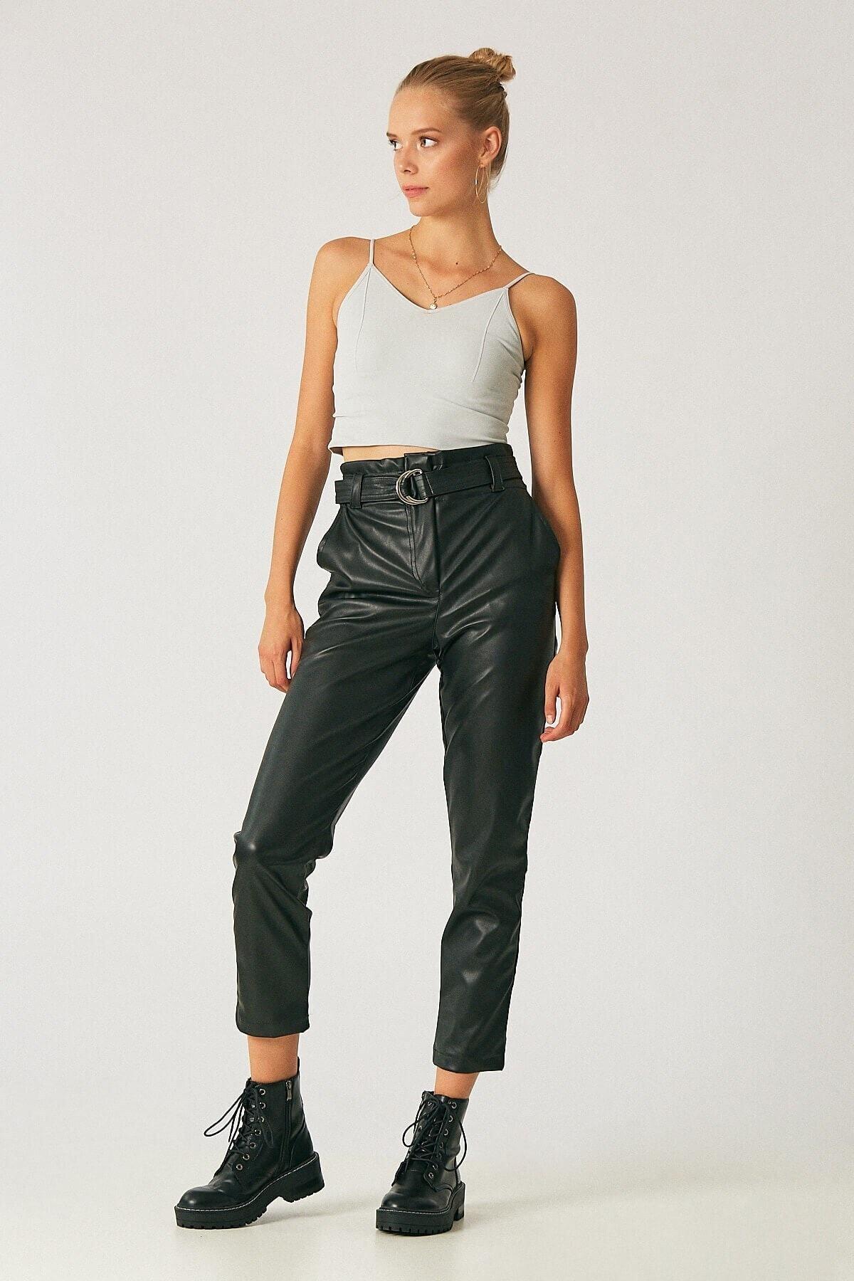 Robin Kadın Siyah Kemerli Yüksek Bel Deri Pantolon 2