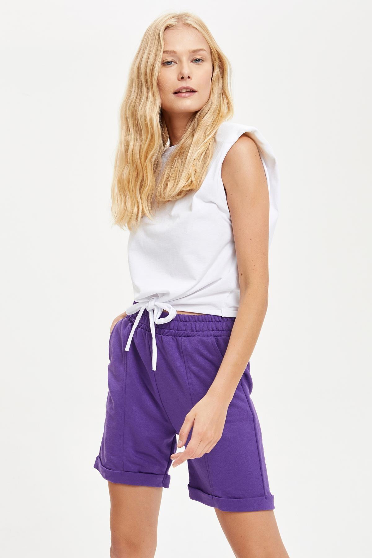 DeFacto Kadın Purple Cepli Şort S8893AZ20HS