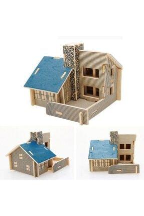 YŞR 3d Ahşap Puzzle - Mavi Ev