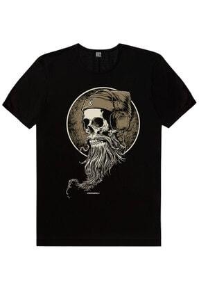 Rock & Roll Sakallı Kurukafa Siyah Kısa Kollu Erkek T-shirt