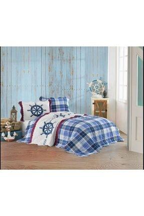 Altınbaşak Mavi Tek Kişilik Yatak Örtüsü ve 1 Adet Yastık Kılıfı  180x230 cm 8118
