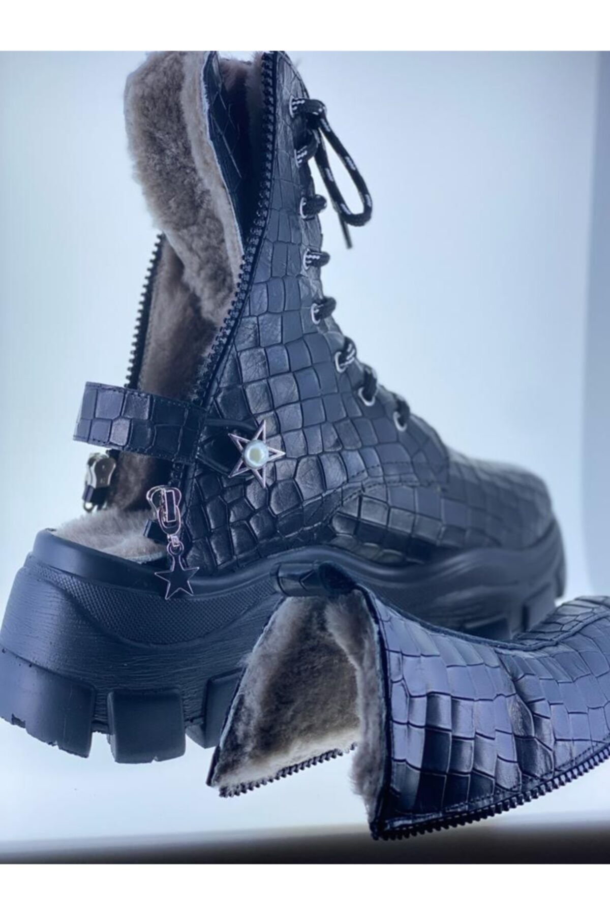 LUXXO Kadın Siyah Hakiki Deri Kroko Sandalet Bot 1