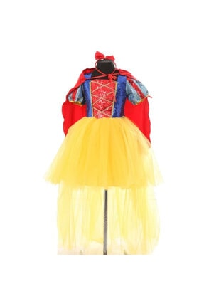 Kostümcü Teyze Çocuk Kuyruklu Pamuk Prenses Elbise Ve Taç Pelerin Seti