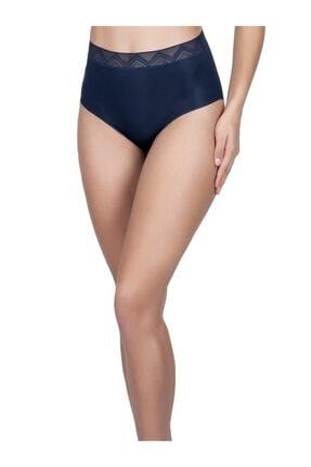 Cottonhill Kadın Lacivert Desenli Lastikli Yüksek Bel Lazer Kesim Bikini Külot