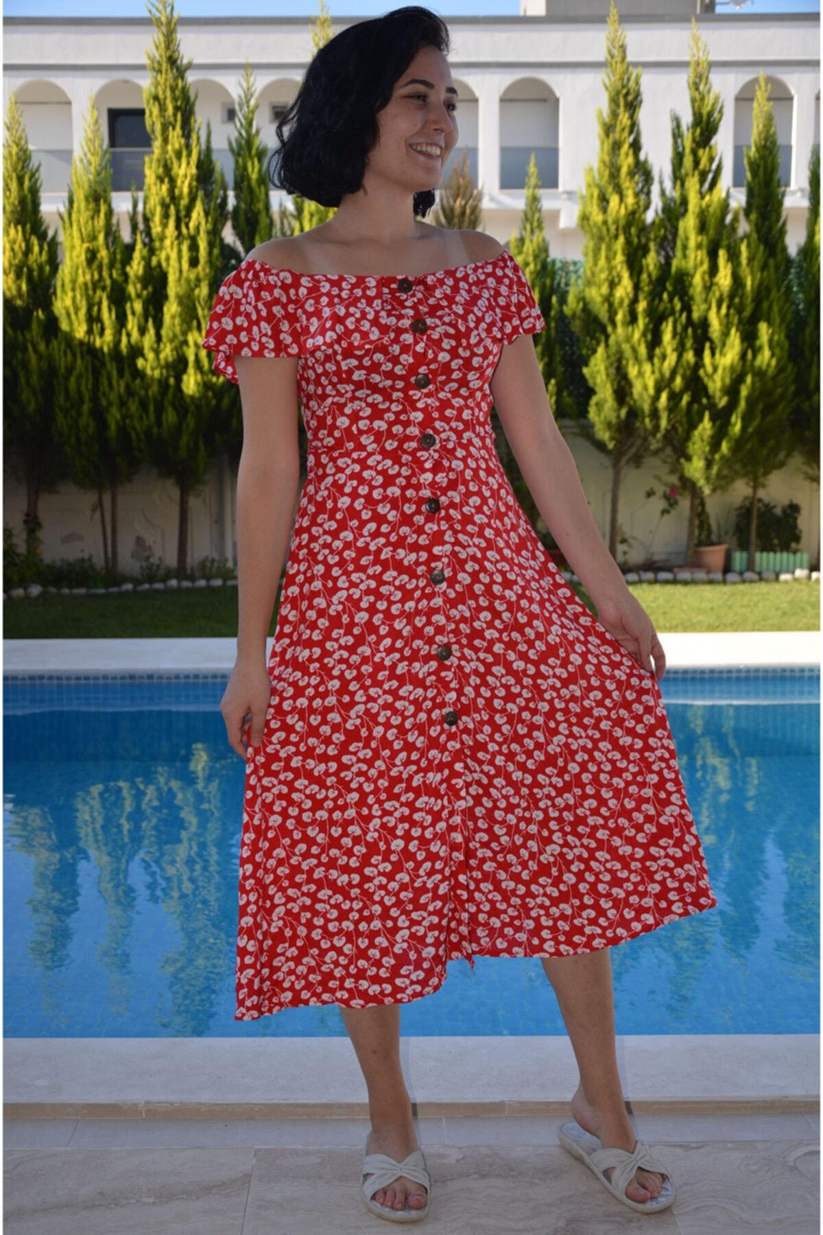 zeynep Kırmızı Beyaz Elbise 1