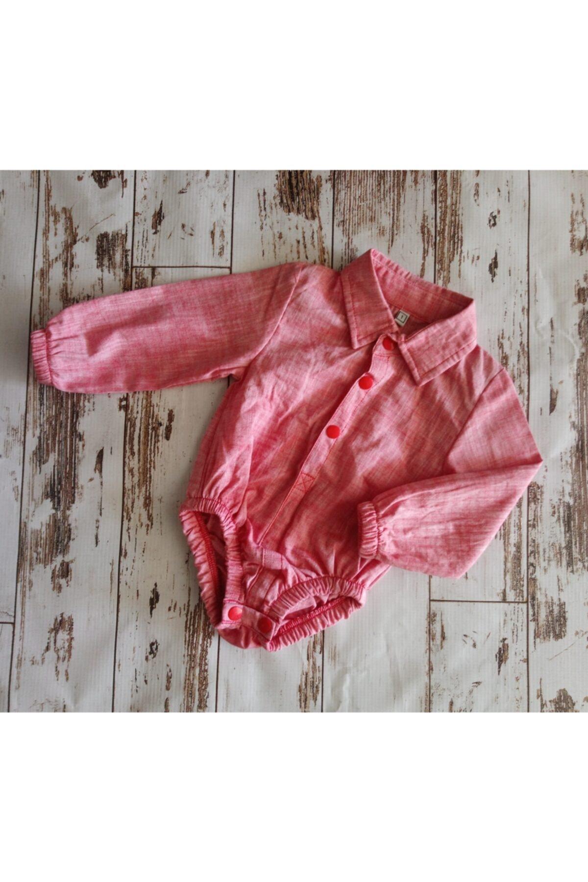 DENİZ Kız Bbek Pembe Çıtçıtlı Gömlek 1