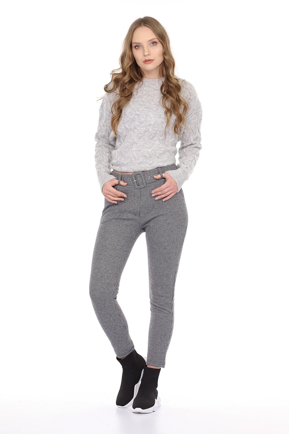 Carlamia Kadın Bel Kemerli Ekose Pantolon 2
