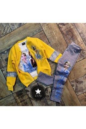 Frozen Kız Çocuk Sarı 3'lü Ceketli Taytlı Takım