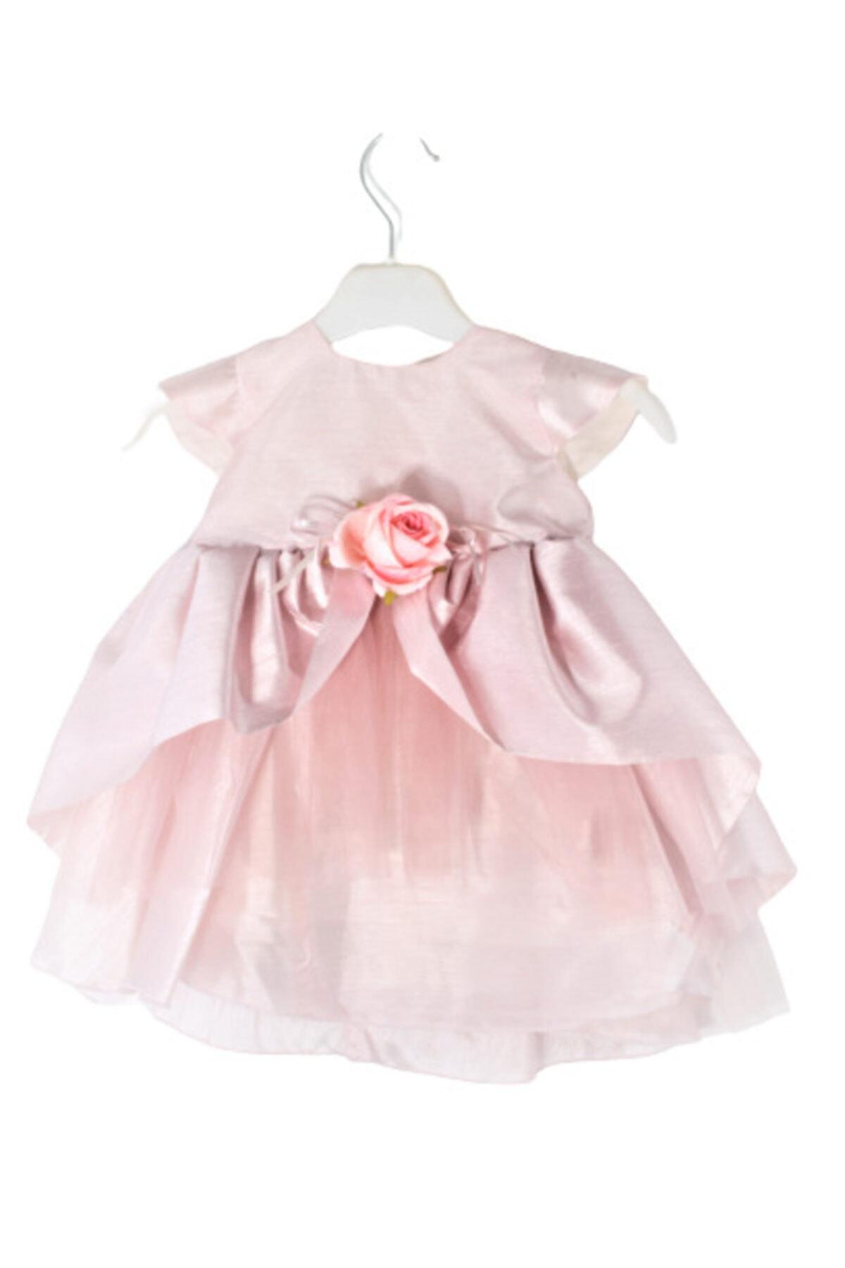 CHIC Bebe Kız Bebek Somon Tafta Abiye Elbise 1