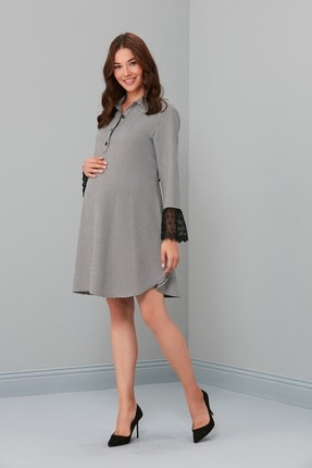 Entarim Kadın Siyah Hamile Elbise Pati Ayak 5024